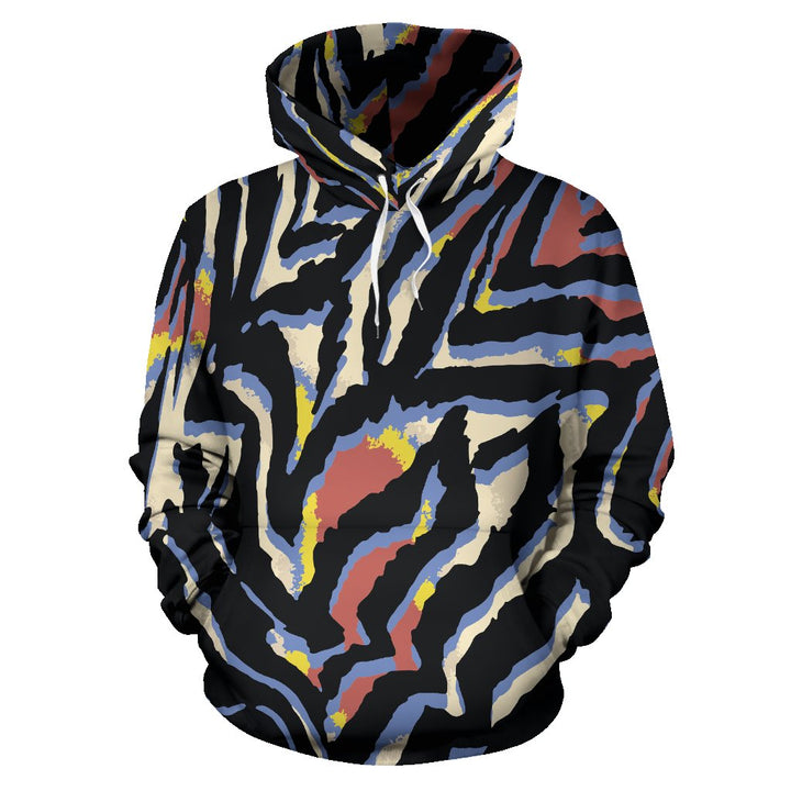 Abstract Zebra Pattern Print Pullover Hoodie GearFrost