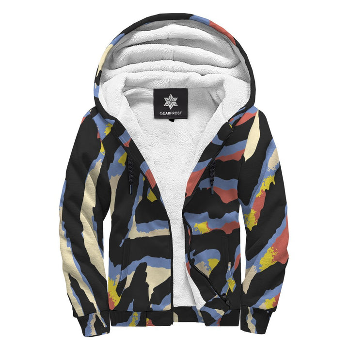 Abstract Zebra Pattern Print Sherpa Lined Fleece Hoodie GearFrost