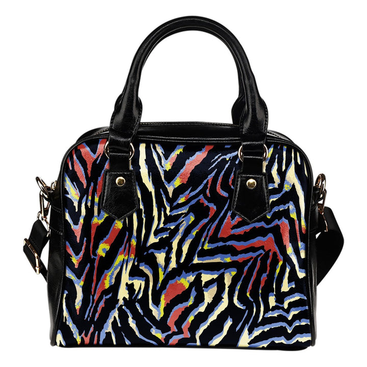 Abstract Zebra Pattern Print Shoulder Handbag GearFrost