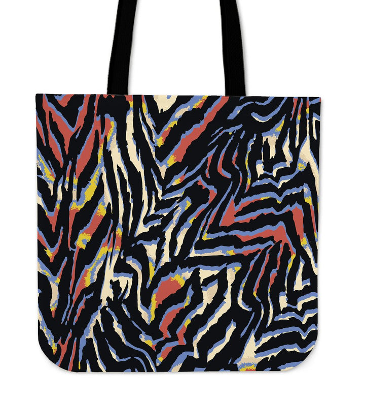 Abstract Zebra Pattern Print Tote Bag GearFrost