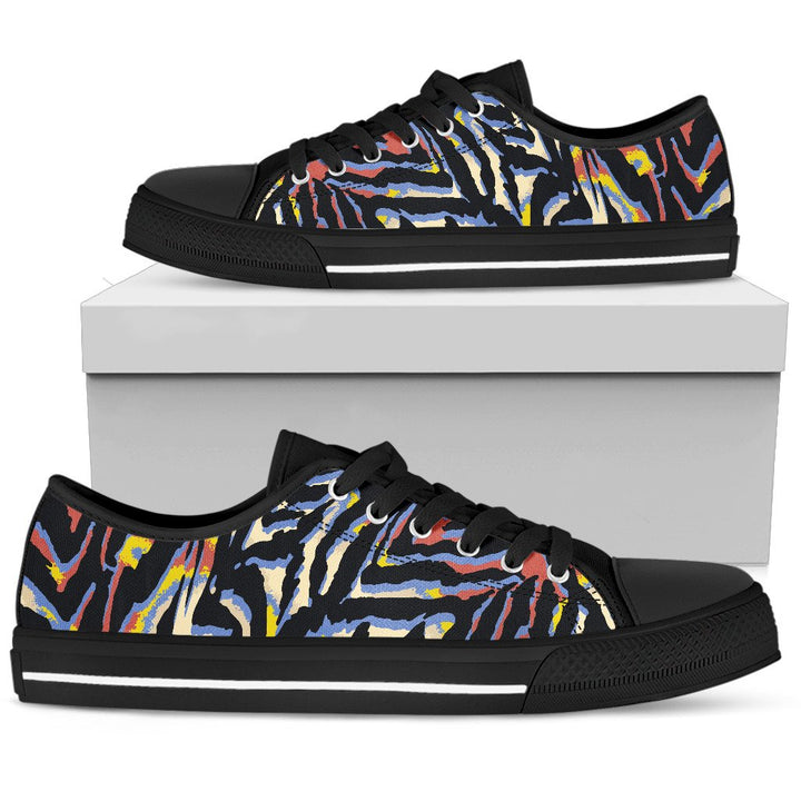Abstract Zebra Pattern Print Women's Low Top Shoes GearFrost