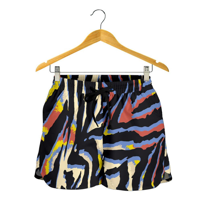 Abstract Zebra Pattern Print Women's Shorts GearFrost