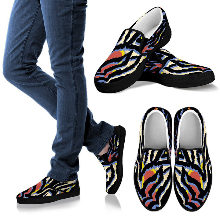 Abstract Zebra Pattern Print Women's Slip On Shoes GearFrost