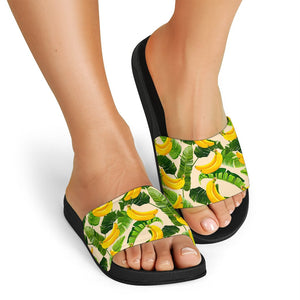 Aloha Banana Pattern Print Black Slide Sandals GearFrost