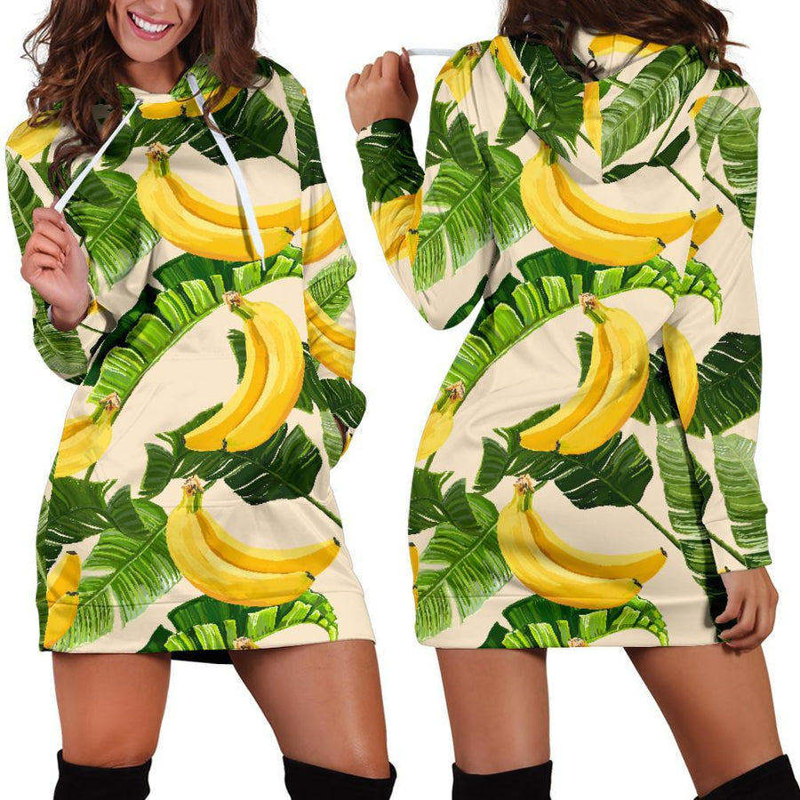 Aloha Banana Pattern Print Hoodie Dress GearFrost