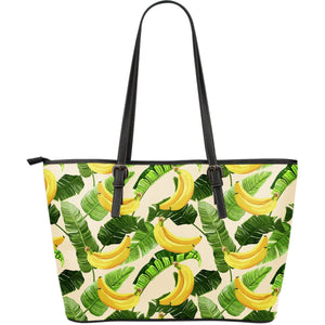 Aloha Banana Pattern Print Leather Tote Bag GearFrost