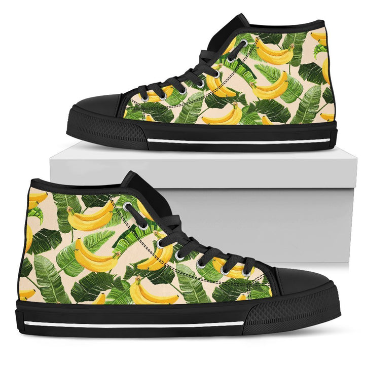 Aloha Banana Pattern Print Men's High Top Shoes GearFrost