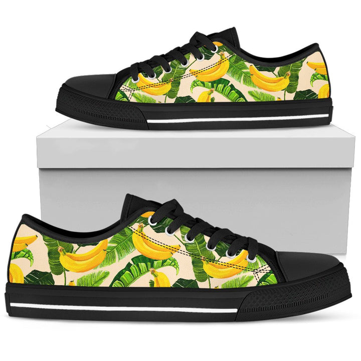 Aloha Banana Pattern Print Men's Low Top Shoes GearFrost
