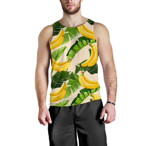 Aloha Banana Pattern Print Men's Tank Top GearFrost