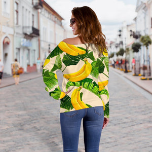 Aloha Banana Pattern Print Off Shoulder Sweatshirt GearFrost