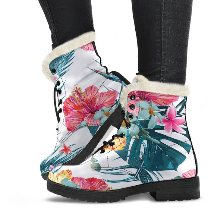 Aloha Hawaii Floral Pattern Print Comfy Boots GearFrost