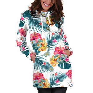 Aloha Hawaii Floral Pattern Print Hoodie Dress GearFrost