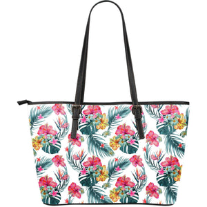 Aloha Hawaii Floral Pattern Print Leather Tote Bag GearFrost