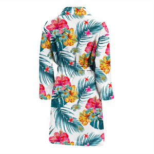 Aloha Hawaii Floral Pattern Print Men's Bathrobe GearFrost