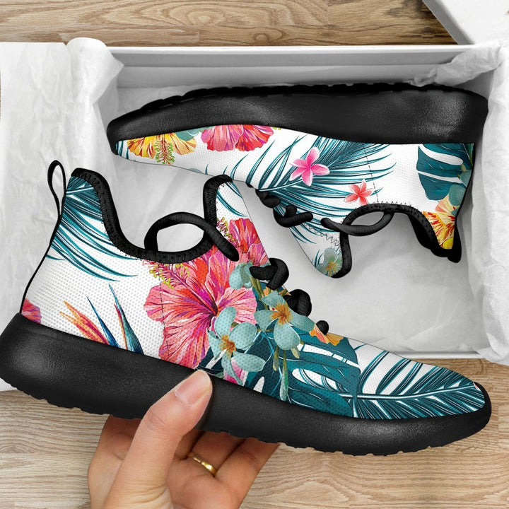 Aloha Hawaii Floral Pattern Print Mesh Knit Shoes GearFrost