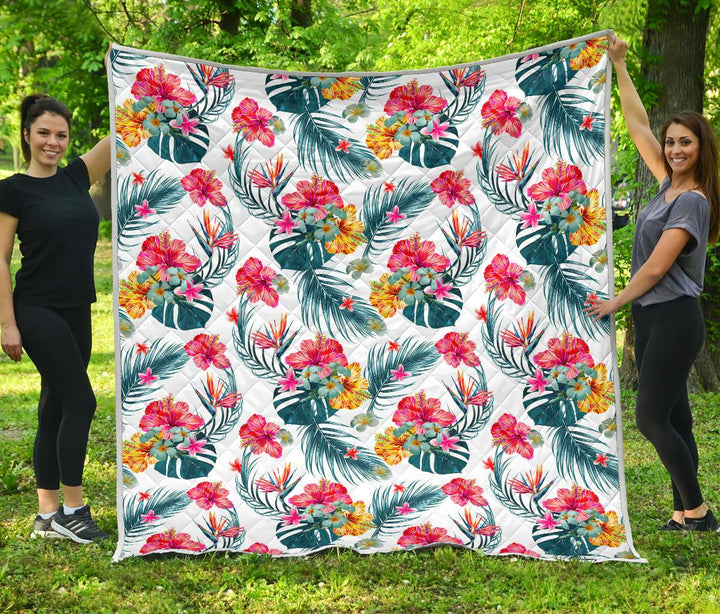 Aloha Hawaii Floral Pattern Print Quilt GearFrost