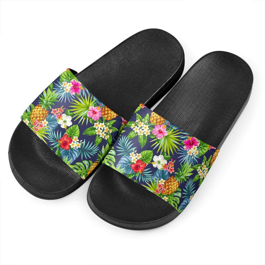 Aloha Hawaii Tropical Pattern Print Black Slide Sandals GearFrost