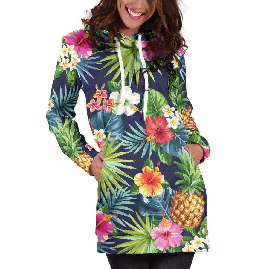 Aloha Hawaii Tropical Pattern Print Hoodie Dress GearFrost