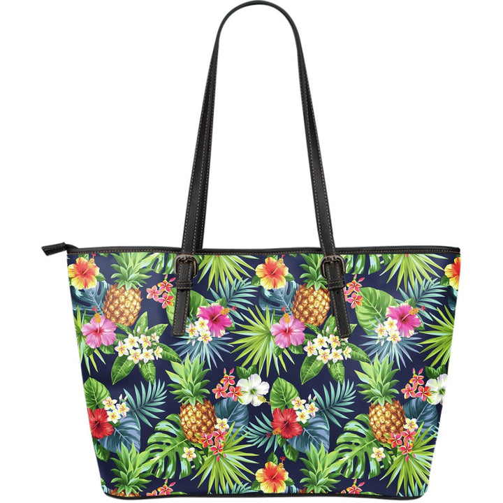 Aloha Hawaii Tropical Pattern Print Leather Tote Bag GearFrost