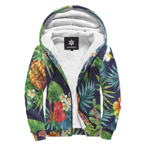 Aloha Hawaii Tropical Pattern Print Sherpa Lined Fleece Hoodie GearFrost