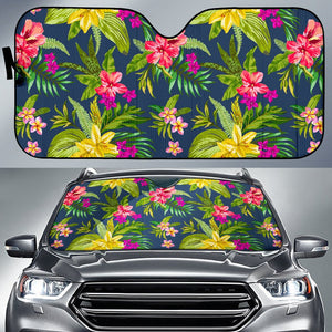 Aloha Hawaiian Flowers Pattern Print Car Sun Shade GearFrost
