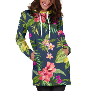 Aloha Hawaiian Flowers Pattern Print Hoodie Dress GearFrost