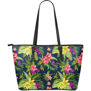 Aloha Hawaiian Flowers Pattern Print Leather Tote Bag GearFrost