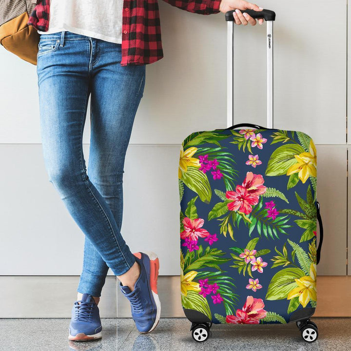 Aloha Hawaiian Flowers Pattern Print Luggage Cover GearFrost