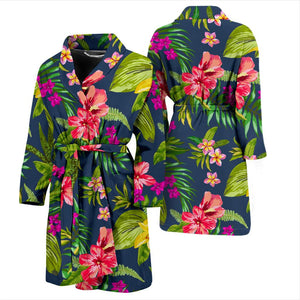 Aloha Hawaiian Flowers Pattern Print Men's Bathrobe GearFrost