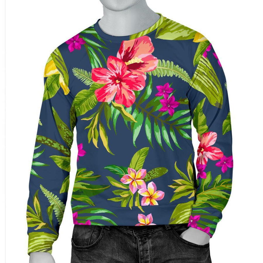 Aloha Hawaiian Flowers Pattern Print Men's Crewneck Sweatshirt GearFrost