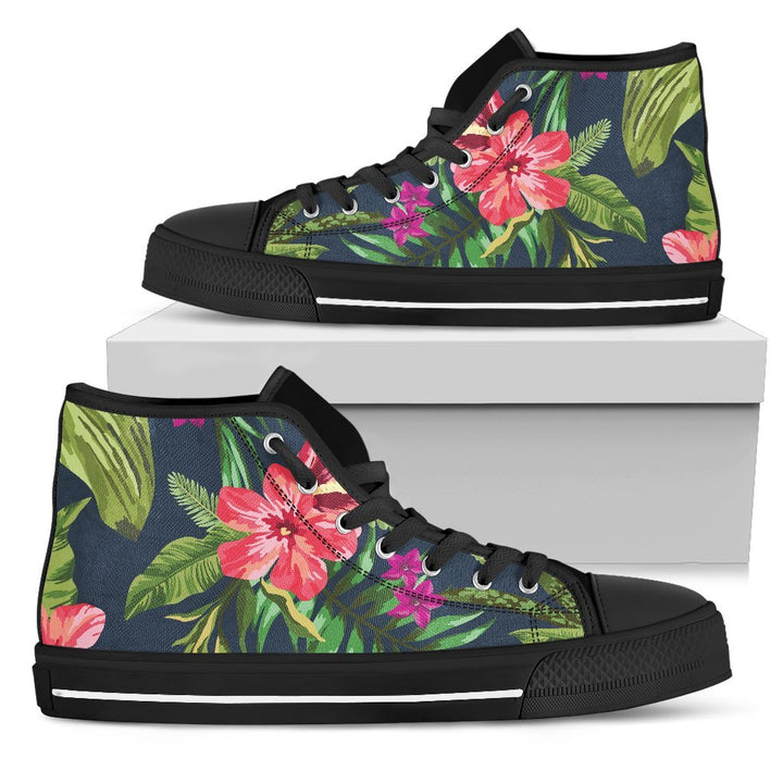 Aloha Hawaiian Flowers Pattern Print Men's High Top Shoes GearFrost