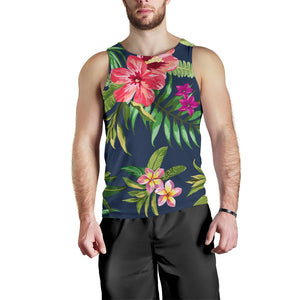 Aloha Hawaiian Flowers Pattern Print Men's Tank Top GearFrost