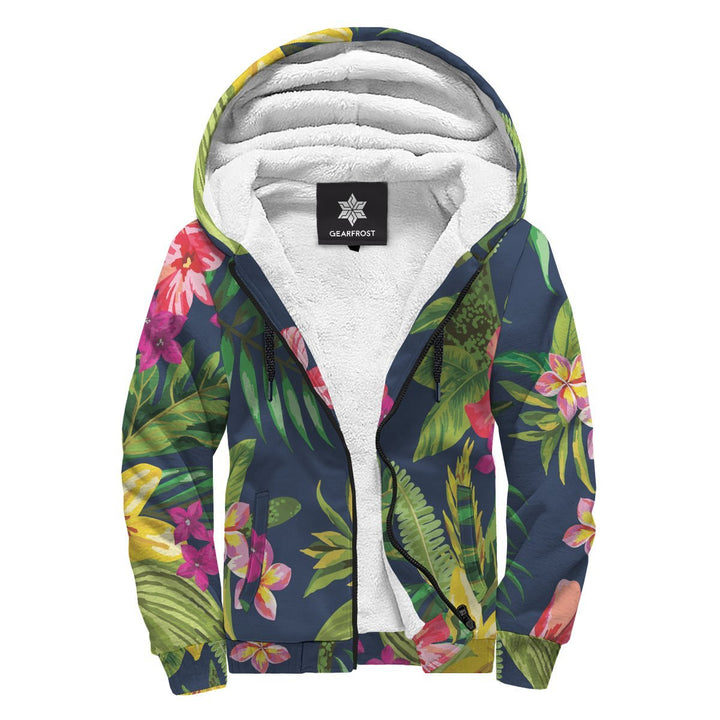 Aloha Hawaiian Flowers Pattern Print Sherpa Lined Fleece Hoodie GearFrost