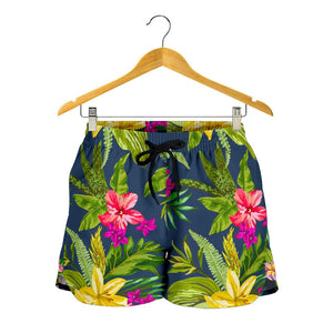 Aloha Hawaiian Flowers Pattern Print Women's Shorts GearFrost