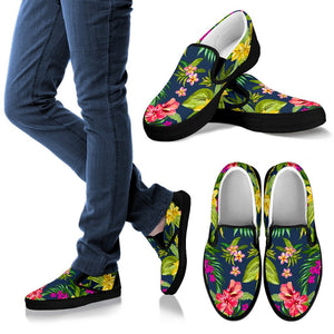 Aloha Hawaiian Flowers Pattern Print Women's Slip On Shoes GearFrost