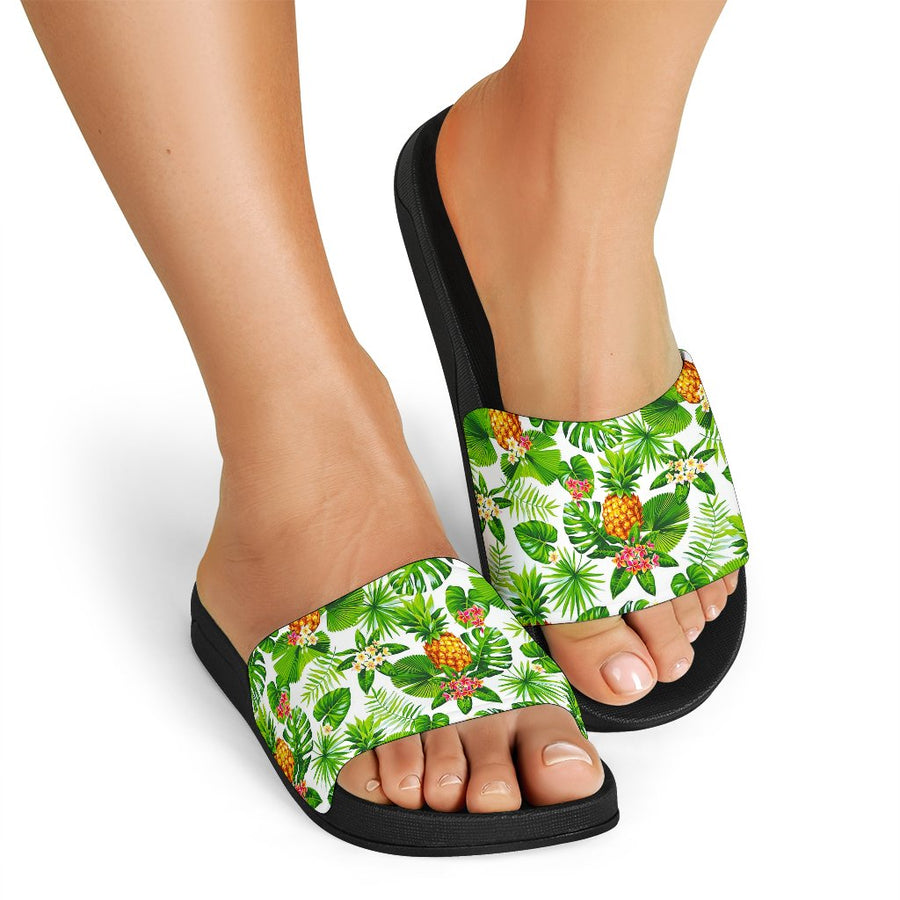 Aloha Hawaiian Pineapple Pattern Print Black Slide Sandals GearFrost