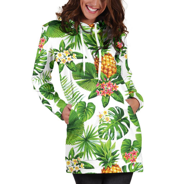 Aloha Hawaiian Pineapple Pattern Print Hoodie Dress GearFrost