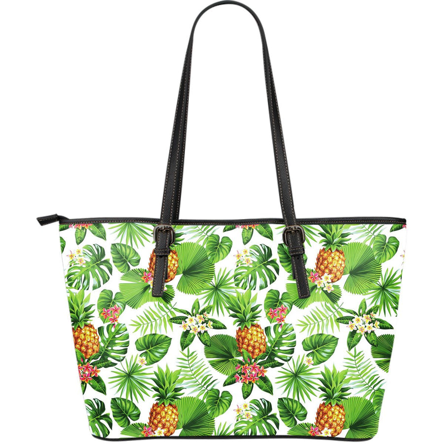 Aloha Hawaiian Pineapple Pattern Print Leather Tote Bag GearFrost