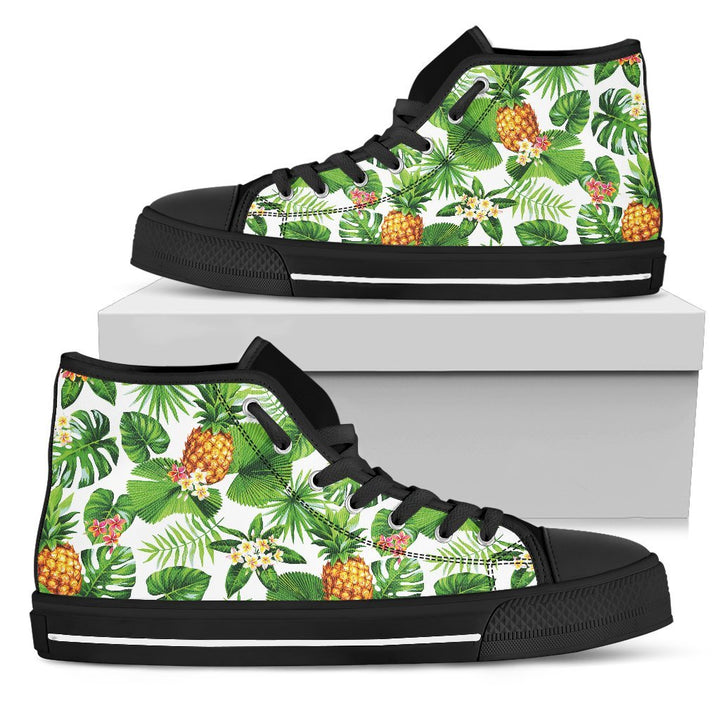 Aloha Hawaiian Pineapple Pattern Print Men's High Top Shoes GearFrost