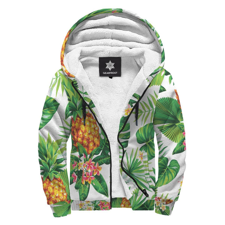 Aloha Hawaiian Pineapple Pattern Print Sherpa Lined Fleece Hoodie GearFrost