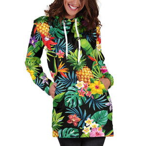 Aloha Hawaiian Tropical Pattern Print Hoodie Dress GearFrost