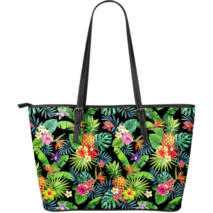 Aloha Hawaiian Tropical Pattern Print Leather Tote Bag GearFrost