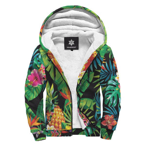 Aloha Hawaiian Tropical Pattern Print Sherpa Lined Fleece Hoodie GearFrost