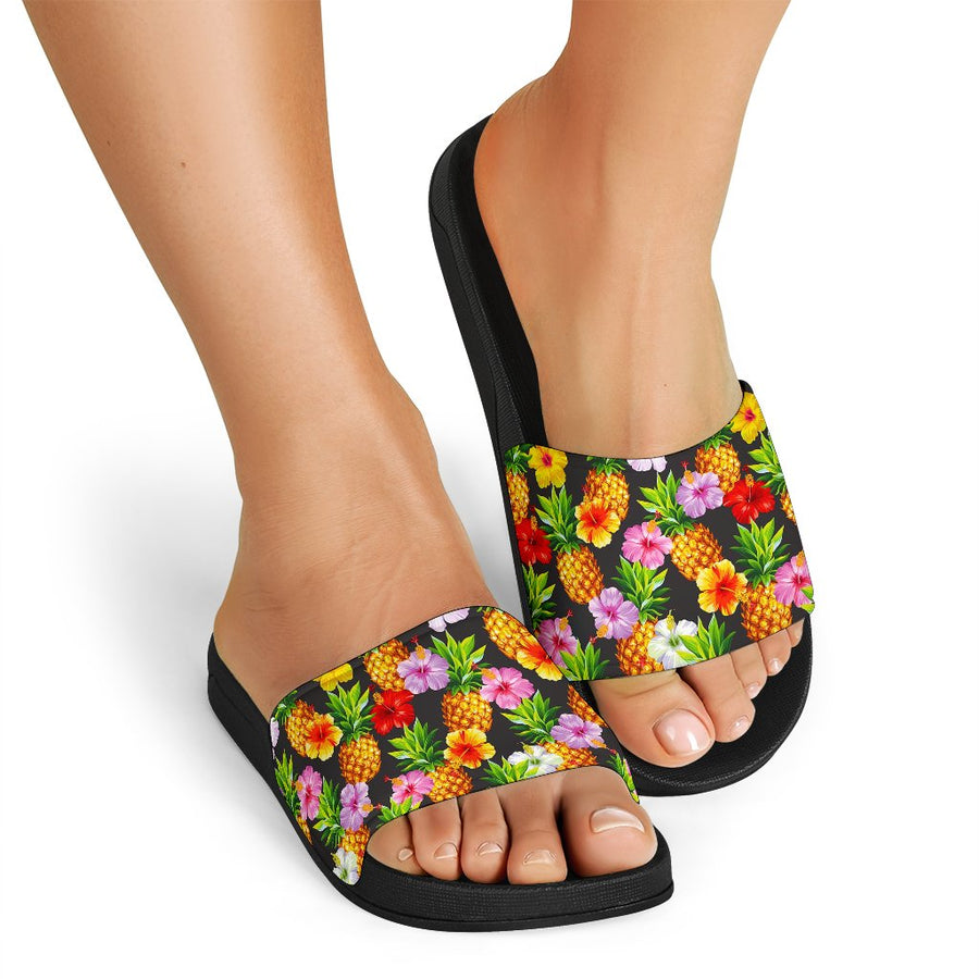 Aloha Hibiscus Pineapple Pattern Print Black Slide Sandals GearFrost