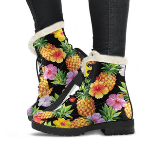 Aloha Hibiscus Pineapple Pattern Print Comfy Boots GearFrost