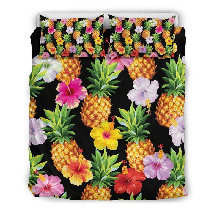 Aloha Hibiscus Pineapple Pattern Print Duvet Cover Bedding Set GearFrost