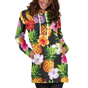 Aloha Hibiscus Pineapple Pattern Print Hoodie Dress GearFrost