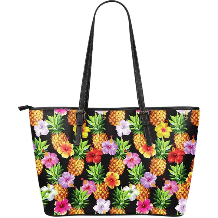 Aloha Hibiscus Pineapple Pattern Print Leather Tote Bag GearFrost