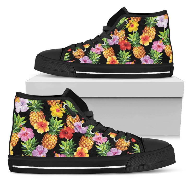Aloha Hibiscus Pineapple Pattern Print Men's High Top Shoes GearFrost