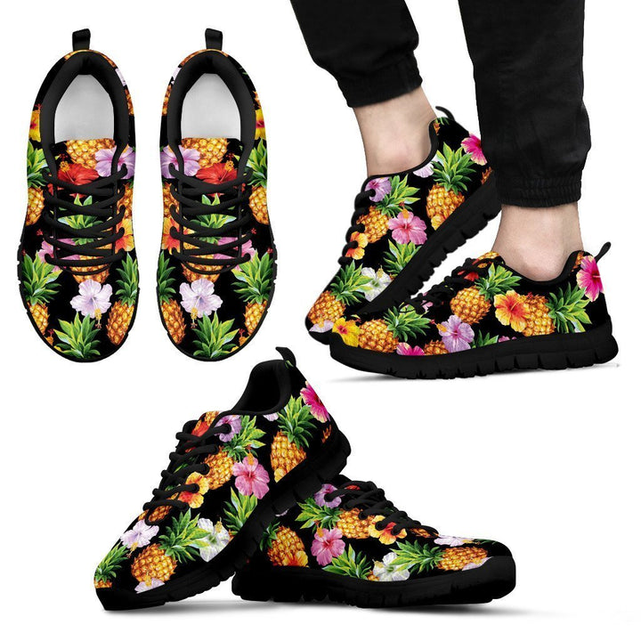 Aloha Hibiscus Pineapple Pattern Print Men's Sneakers GearFrost